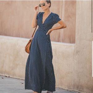 Vici Cara Polka Dot Wrap Maxi Dress